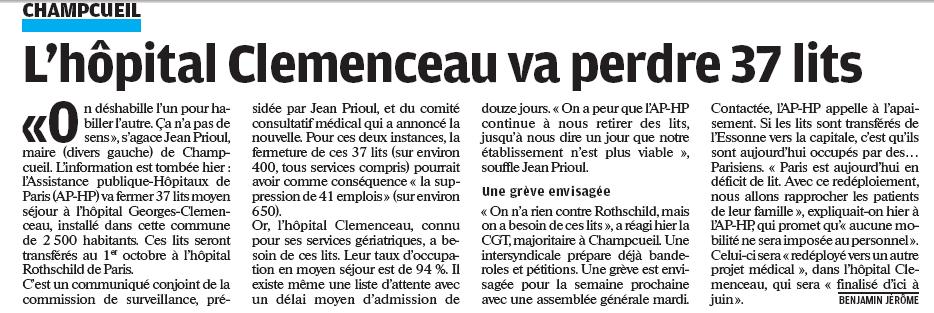 Article du parisien du 6 février 2010 sur l'hôpital de Champcueil