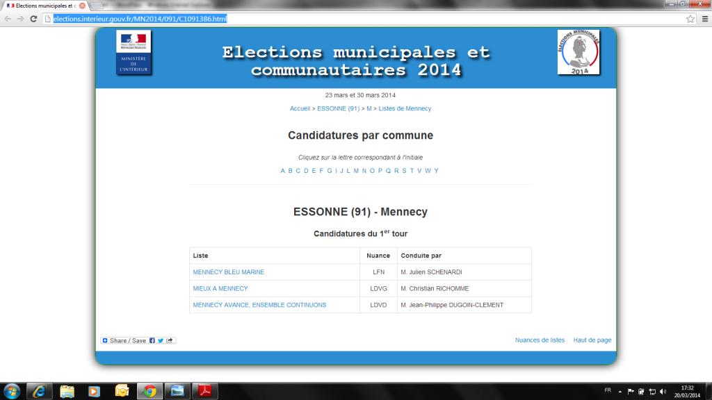 Site du Ministère de l'Intérieur ou M. Richomme s'est déclaré Liste Divers Gache (LDVG)