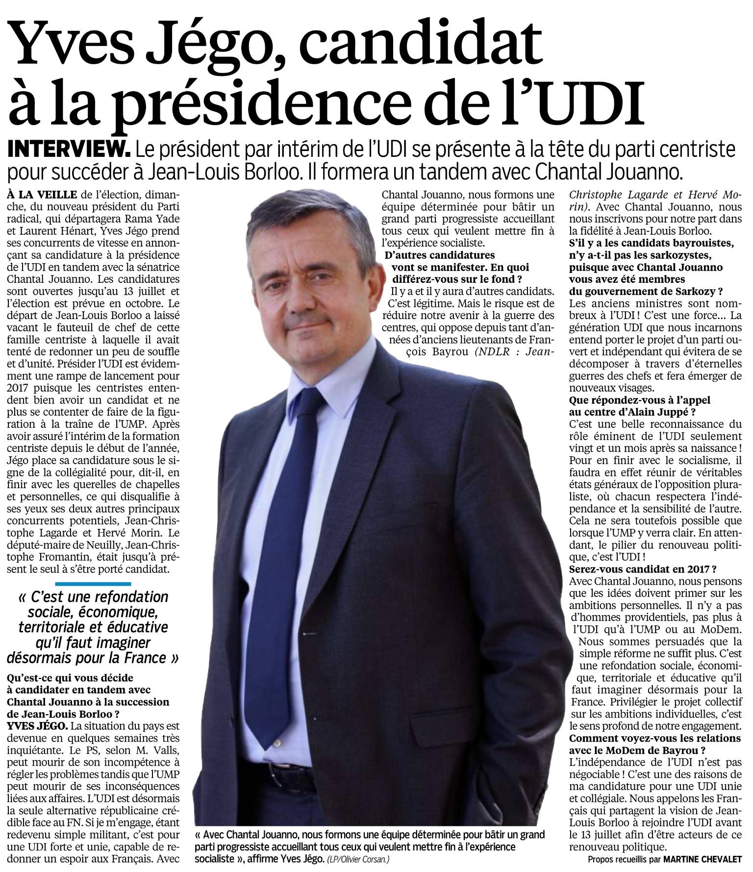 Le Parisien du 21 juin 2014 - Yves Jégo candidat à l'UDI